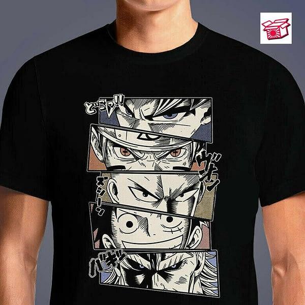 Anime One Piece Luffy All Might One Punch Man Funny Black T-Shirt Harajuku Ullzang T Shirt Fashion Japanese T-shirt Tops