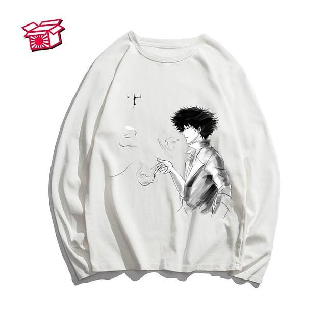 Men's Anime Cowboy Bebop Print Long Sleeve Autumn Women Full Sleeve Harajuku Uncle Spike Spiegel Men See You Space T Shirt