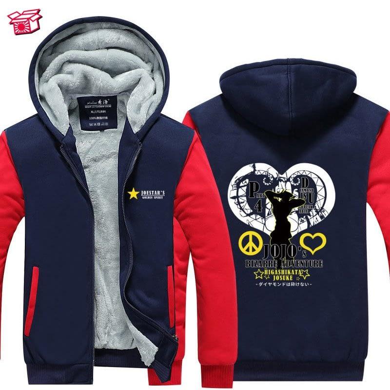 Anime JoJo's Bizarre Adventure Thick Fleece Hoodie Autumn jojo velvet Cosplay jacket Male Outerwear Hoody Sweatshirts A71710